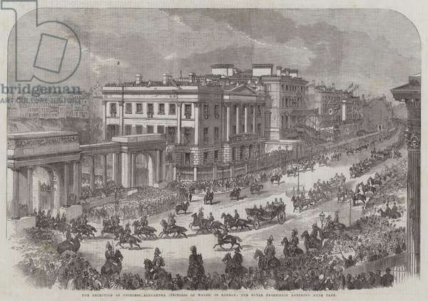 The Reception of Princess Alexandra (Princess of Wales) in London, the Royal Procession entering Hyde Park (engraving)