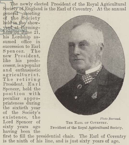 The Earl of Coventry, President of the Royal Agricultural Society (b/w photo)