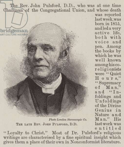 The late Reverend John Pulsford, DD (engraving)