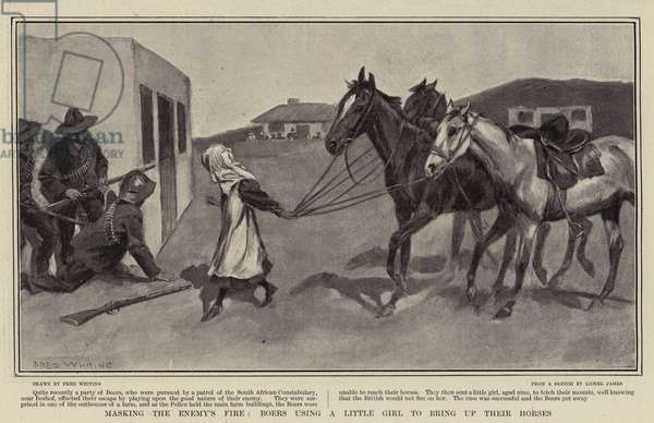 Masking the Enemy's Fire, Boers using a Little Girl to bring up their Horses (litho)