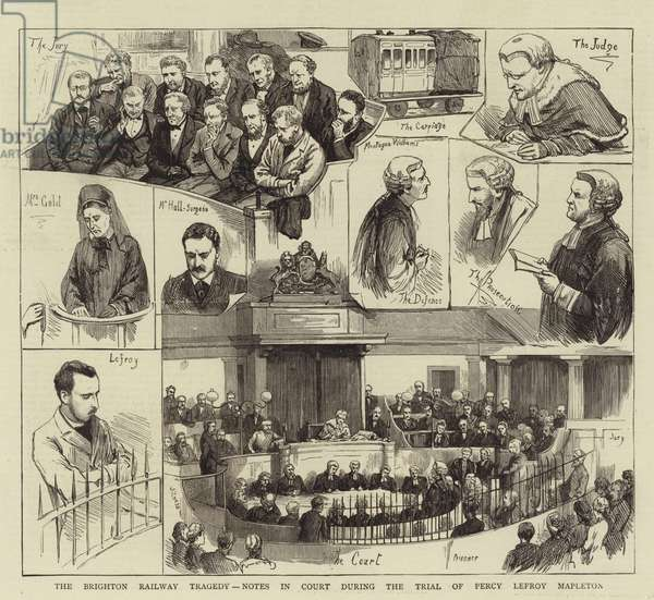 The Brighton Railway Tragedy, Notes in Court during the Trial of Percy Lefroy Mapleton (engraving)