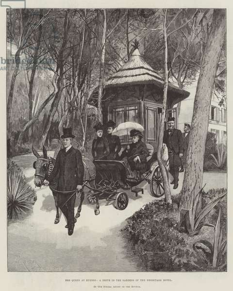 The Queen at Hyeres, a Drive in the Gardens of the Hermitage Hotel (engraving)