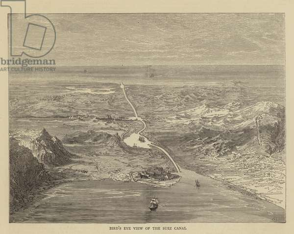 Bird's Eye View of the Suez Canal (engraving)