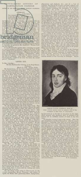 Unpublished Letters of Samuel Taylor Coleridge (engraving)