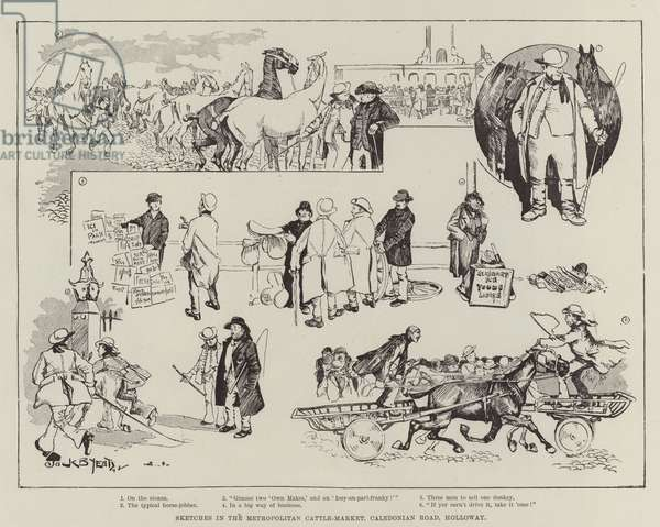 Sketches in the Metropolitan Cattle-Market, Caledonian Road, Holloway (engraving)