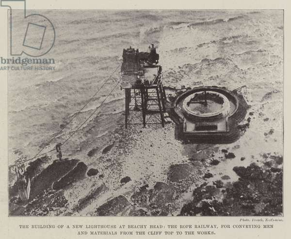 The Building of a New Lighthouse at Beachy Head, the Rope Railway, for conveying Men and Materials from the Cliff Top to the Works (b/w photo)