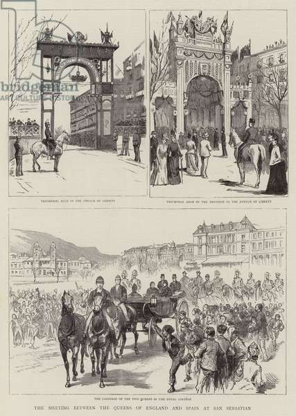 The Meeting between the Queens of England and Spain at San Sebastian (engraving)