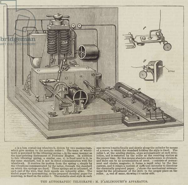 The Autographic Telegraph, M d'Arlincourt's Apparatus (engraving)