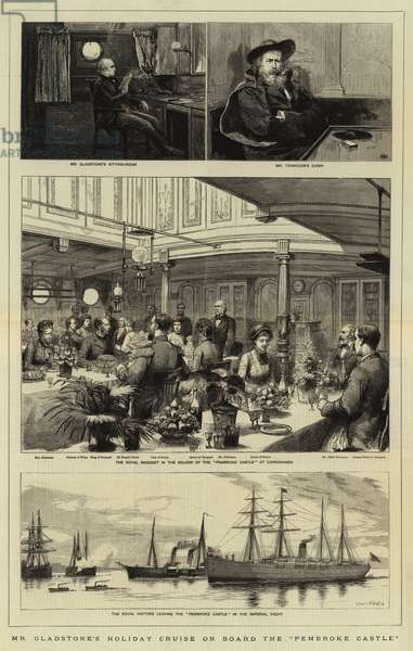 """Mr Gladstone's Holiday Cruise on Board the """"Pembroke Castle"""" (engraving)"""