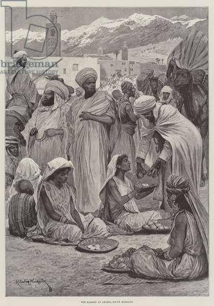 The Market at Amsmiz, South Morocco (engraving)