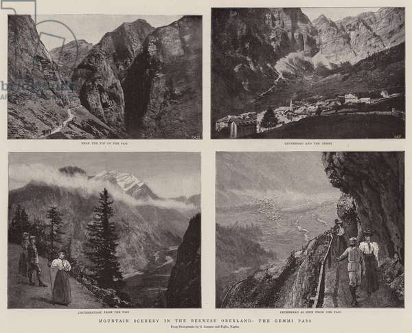 Mountain Scenery in the Bernese Oberland, the Gemini Pass (b/w photo)