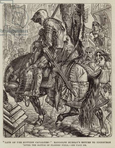 """Lays of the Scottish Cavaliers,"" Randolph Murray's Return to Edinburgh after the Battle of Flodden Field (engraving)"