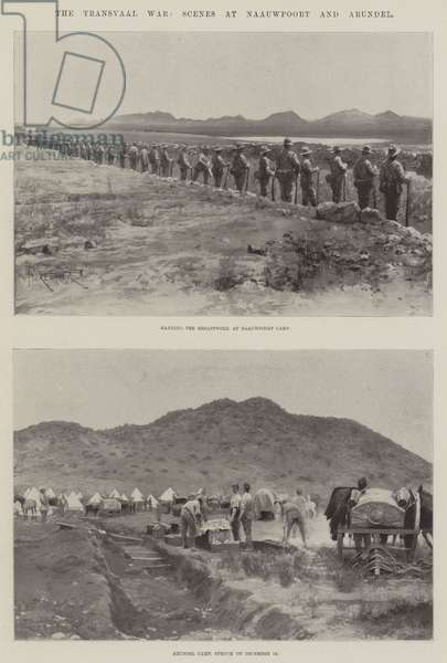 The Transvaal War, Scenes at Naauwpoort and Arundel (litho)