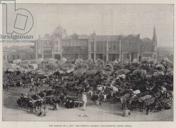 The Making of a City, the Morning Market, Johannesburg, South Africa (b/w photo)