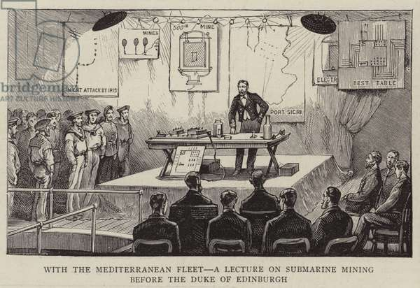 With the Mediterranean Fleet, a Lecture on Submarine Mining before the Duke of Edinburgh (engraving)