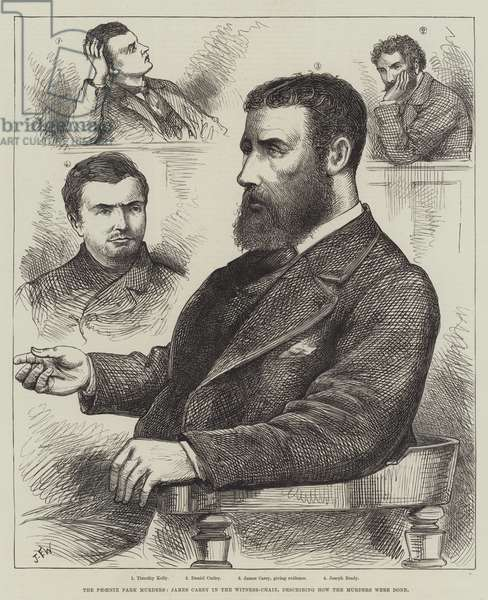 The Phoenix Park Murders, James Carey in the Witness-Chair, describing how the Murders were done (engraving)