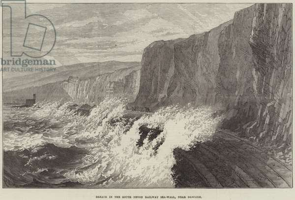 Breach in the South Devon Railway Sea-Wall, near Dawlish (engraving)