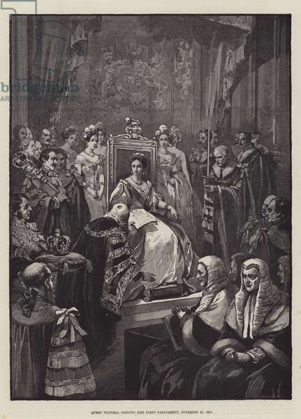 Queen Victoria opening her First Parliament, 20 November 1837 (engraving)