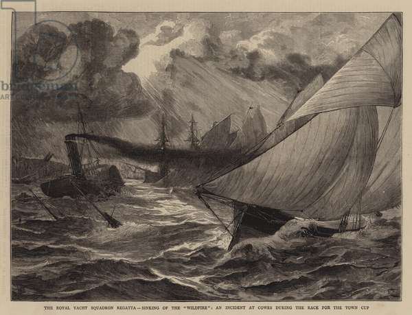 """The Royal Yacht Squadron Regatta, Sinking of the """"Wildfire"""", an Incident at Cowes during the Race for the Town Cup (engraving)"""