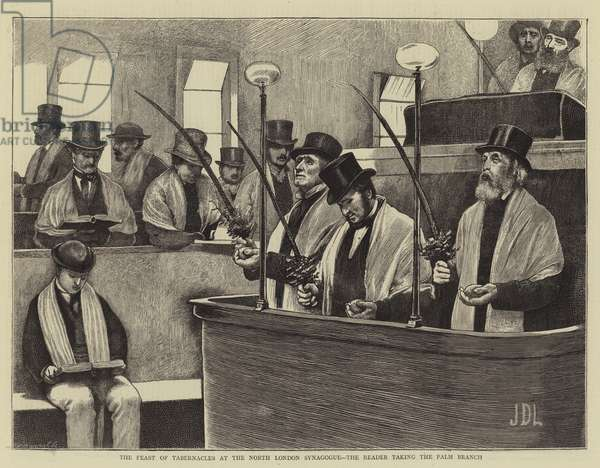 The Feast of Tabernacles at the North London Synagogue, the Reader taking the Palm Branch (engraving)