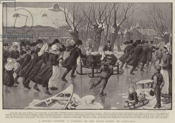A Wendic Custom, a funeral on the River Spree, in Lusitania (litho)