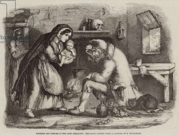 Manners and Customs of the Irish Peasantry, the Fairy Doctor (engraving)
