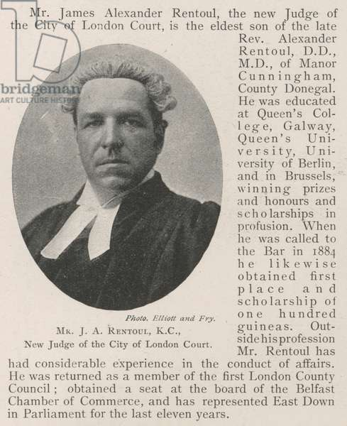 Mr J A Rentoul, KC, New Judge of the City of London Court (engraving)