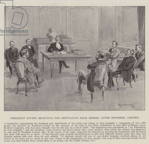 President Loubet receiving the Deputation from Messers Lever Brothers, Limited (engraving)