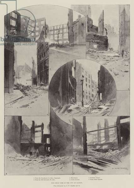 The Great Fire in the City of London (litho)