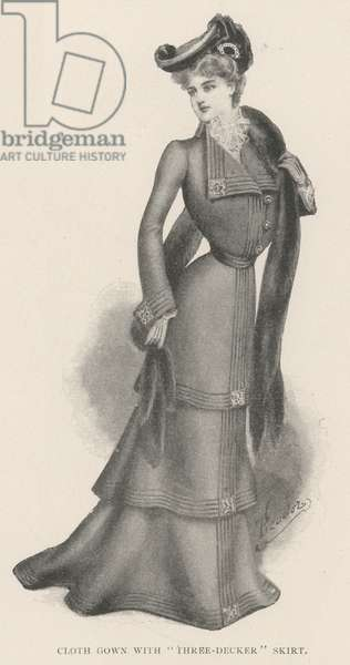"""Cloth Gown with """"Three-Decker"""" Skirt (litho)"""