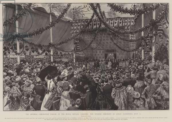 The Imperial Coronation Bazaar at the Royal Botanic Gardens, the Opening Ceremony by Queen Alexandra, 10 July (litho)