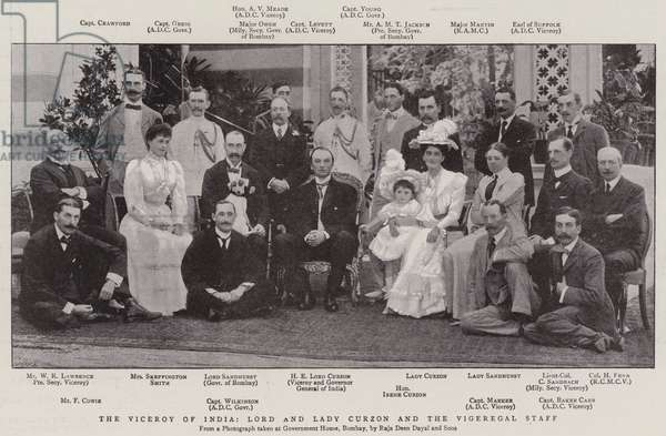 The Viceroy of India, Lord and Lady Curzon and the Vigeregal Staff (b/w photo)