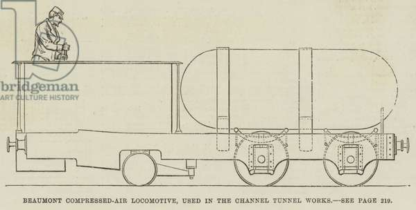 Beaumont Compressed-Air Locomotive, used in the Channel Tunnel Works (engraving)