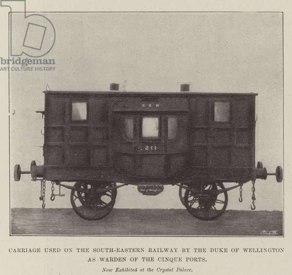 Carriage used on the South-Eastern Railway by the Duke of Wellington as Warden of the Cinque Ports (b/w photo)
