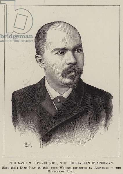 The Late M Stamboloff, the Bulgarian Statesman (engraving)