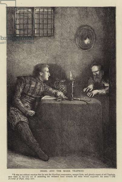 Nigel and the Miser Trapbois (engraving)