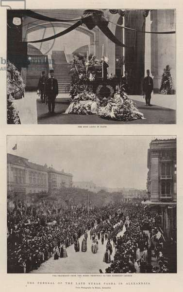 The Funeral of the Late Nubar Pasha in Alexandria (b/w photo)