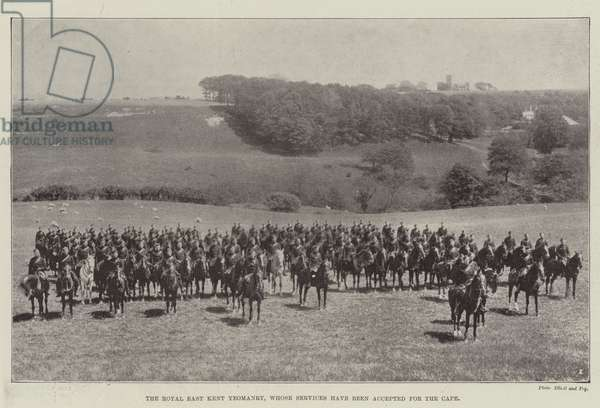 The Royal East Kent Yeomanry, whose Service have been accepted for the Cape (b/w photo)