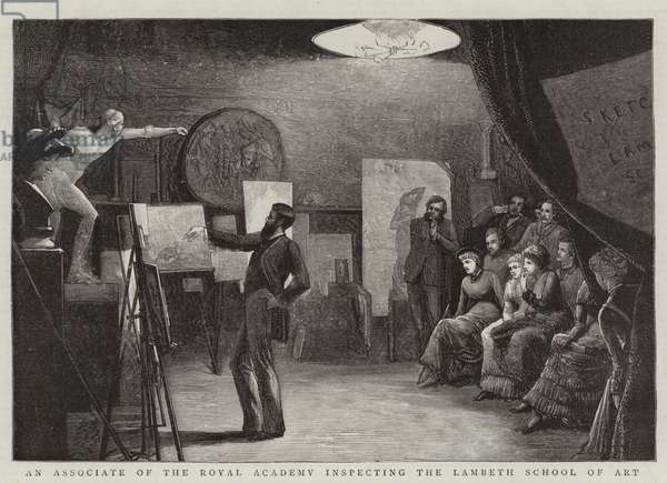 An Associate of the Royal Academy inspecting the Lambeth School of Art (engraving)