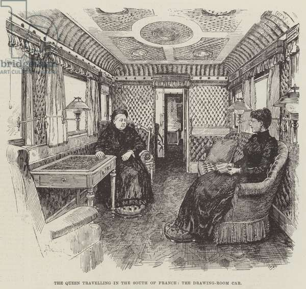 The Queen travelling in the South of France, the Drawing-Room Car (engraving)