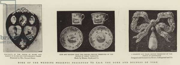 Some of the Wedding Presents presented to TRH the Duke and Duchess of York (b/w photo)