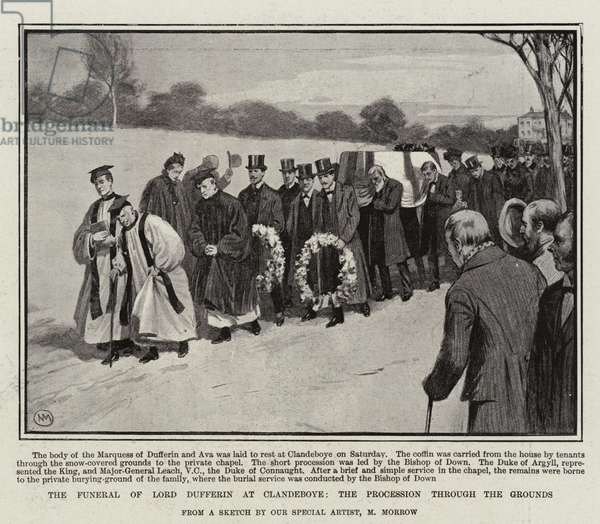 The Funeral of Lord Dufferin at Clandeboye, the Procession through the Grounds (engraving)