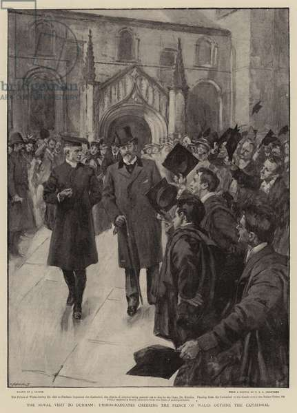 The Royal Visit to Durham, Undergraduates cheering the Prince of Wales outside the Cathedral (litho)