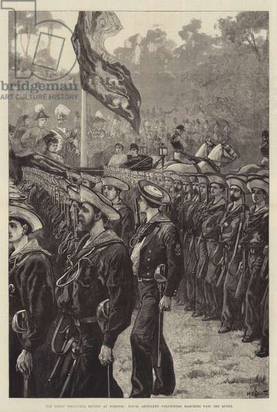 The Great Volunteer Review at Windsor, Naval Artillery Volunteers marching past the Queen (engraving)