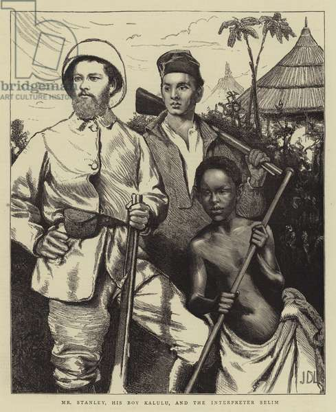 Mr Stanley, his Boy Kalulu, and the Interpreter Selim (engraving)