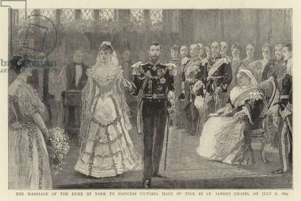 The Marriage of the Duke of York to Princess Victoria Mary of Teck in St James's Chapel on 6 July 1893 (litho)