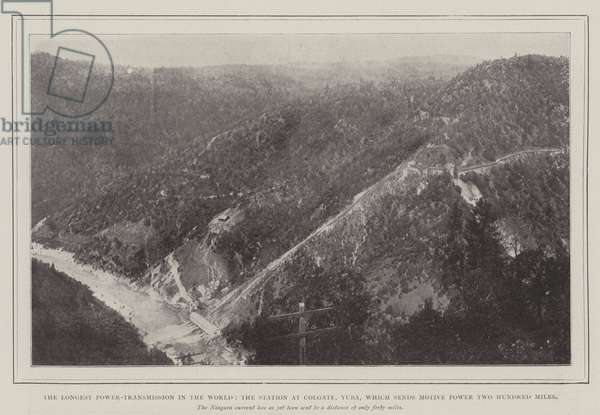 The Longest Power-Transmission in the World, the Station at Colgate, Yuba, which sends Motive Power Two Hundred Miles (engraving)