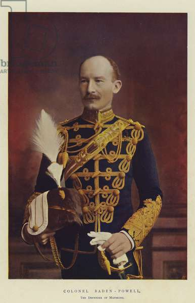 Colonel Baden-Powell, the Defender of Mafeking (chromolitho)