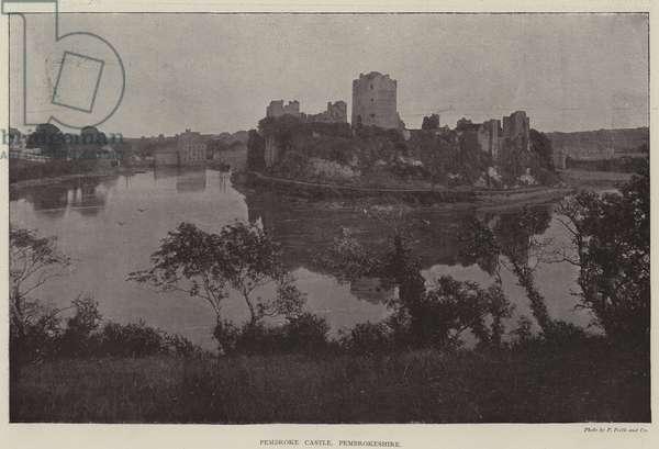 Pembroke Castle, Pembrokeshire (b/w photo)