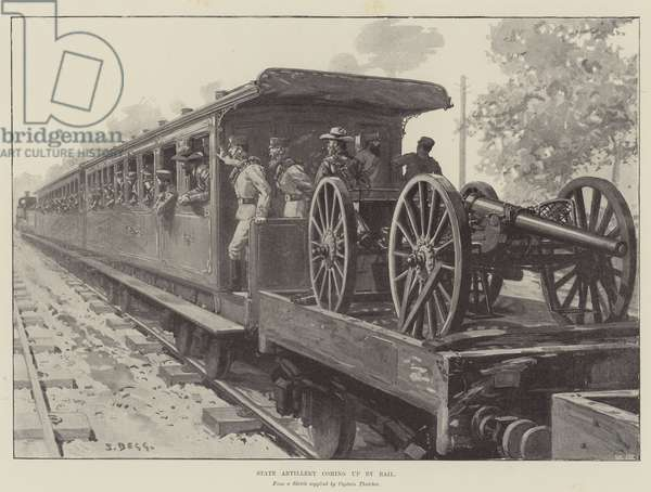 State Artillery coming up by Rail (litho)